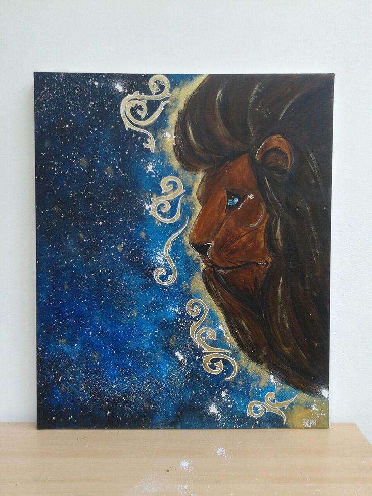 Leone, dipinto su tela con acrilico.