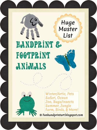 Handprint & Footprint Animal Art & Crafts - huge list!  #preschool #handart