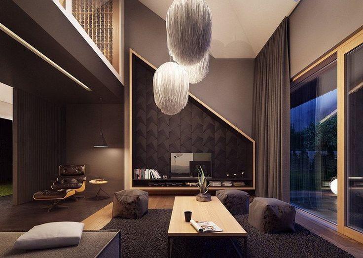 salon moderne gris et beige avec fauteuil et suspnesions design