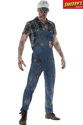 Smiffy's 46854L - Herren Zombie Hinterwäldler Kostüm, Latzhose mit angebrachten Latex Rippen, Oberteil und Baseball Kappe, Größe: L