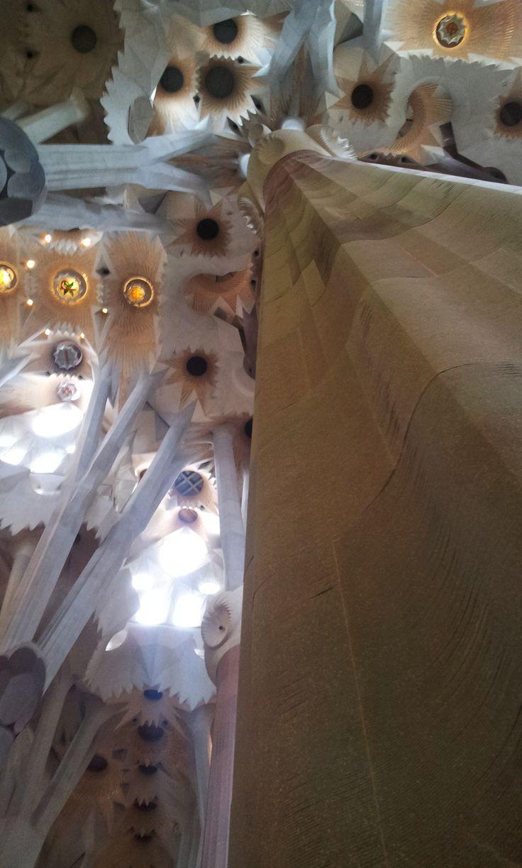 Detail interior, Sagrada Familia cathedral by Gaudi, Barcelona Spain.