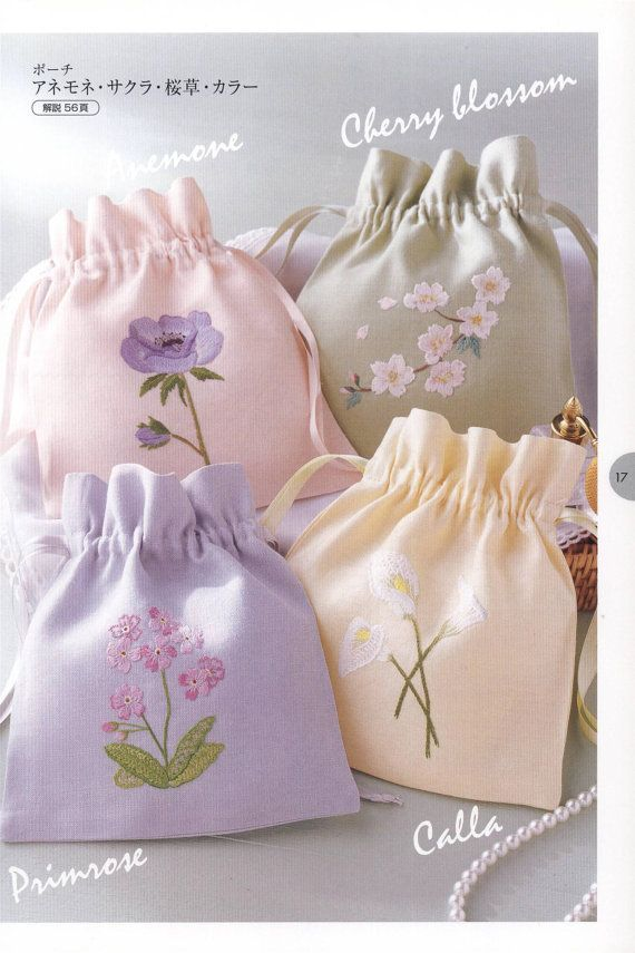Botanical embroidery bags patterns