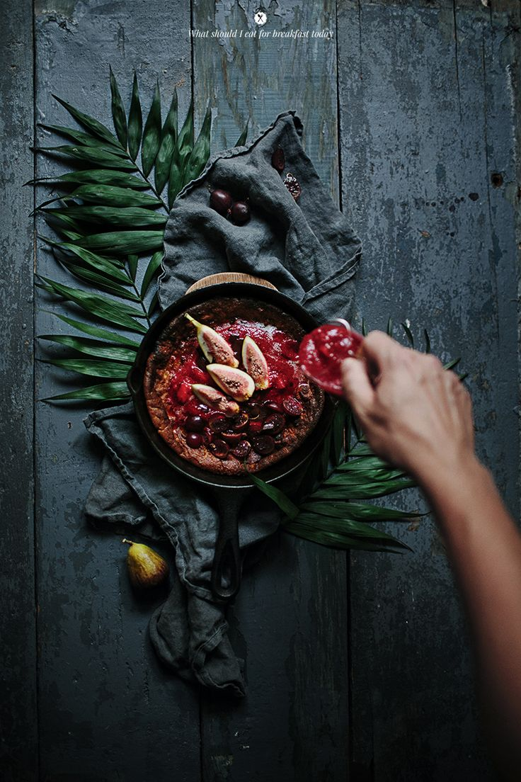 Dutch baby with figs, gooseberries, strawberries and chocolate