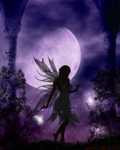 Fairy silhouetted against purple.