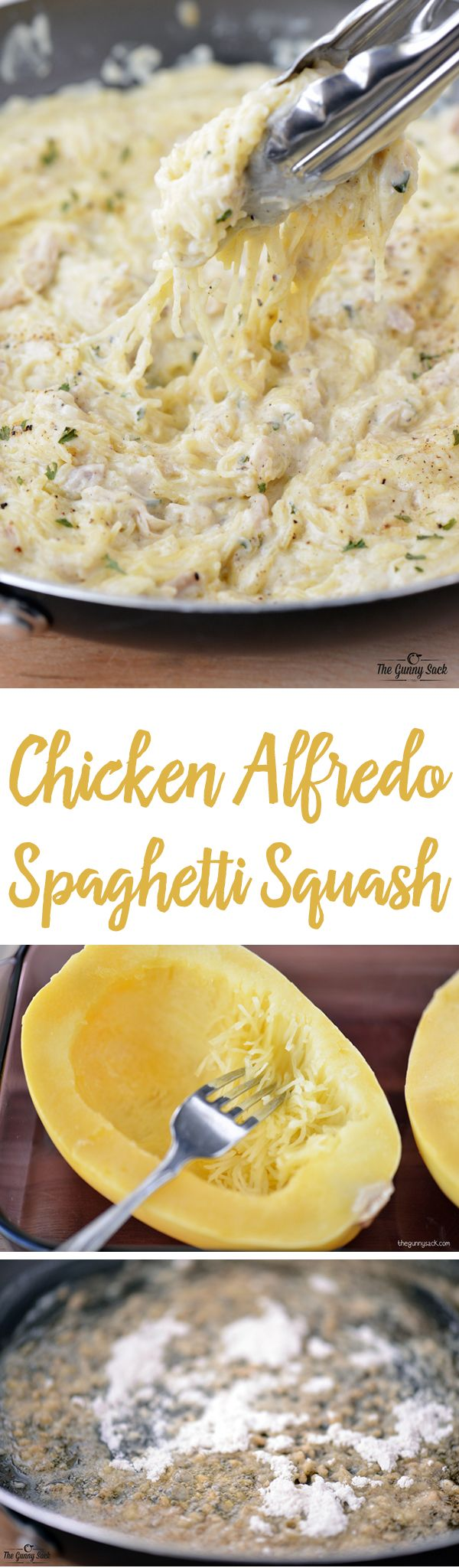 This Chicken Alfredo Spaghetti Squash recipe is low carb comfort food! This spaghetti squash recipe is quick and easy to make. It includes an alfredo sauce recipe make in the skillet. Try it for lunch or dinner!