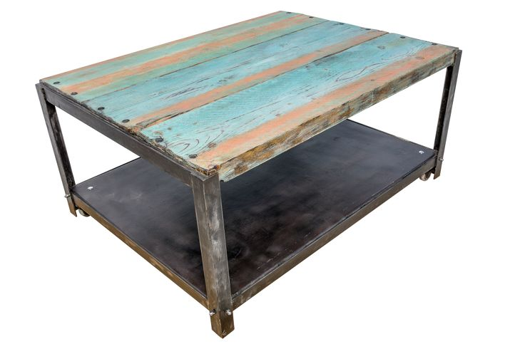 Boat Deck Table - weathered industrial design coffee table - masa cafea din lemn, design industrial