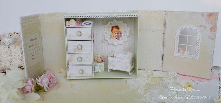 Купить Мамины сокровища в виде детской комнатки - бежевый, голубой, розовый, шкатулка мамины сокровища