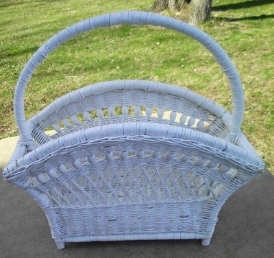 Vintage White Wicker Magazine Holder Rack