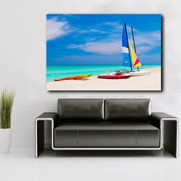 Sailing Boats Catamarans Kayaks Ocean Skyline Nature Canvas Art Poster Print