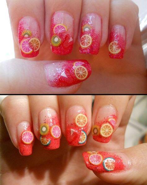Summer Fruit Nail Art Ideas   ko-te.com by @evatornado  