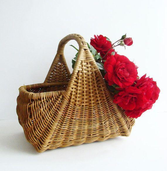 Rustic Cane Storage Basket, Old Rattan Basket, Rustic Home Decor, Wicker Basket