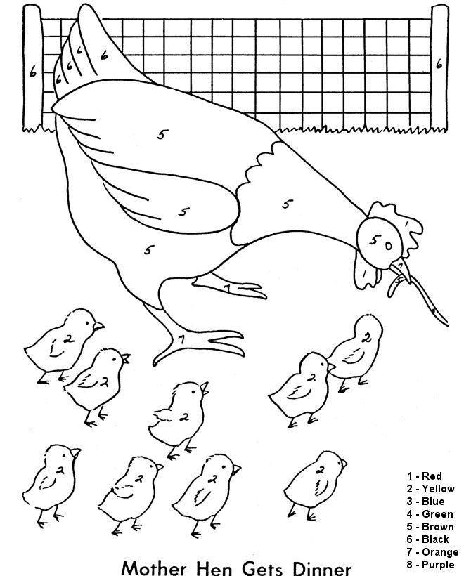 Color By Number Coloring Page Free Printable Easy Beginner Hen With A Worm Pages Featuring Farm Animals