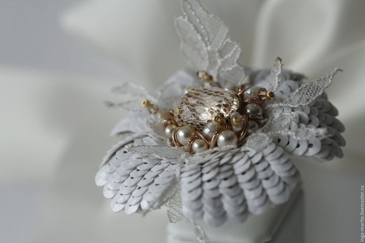 """Купить Кольцо """"l'innocence""""(невинность) - белый, свадебные аксессуары, колье ручной работы, кольцо с цветком"""