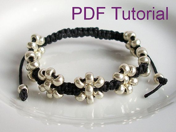 PDF Tutorial Instant Download Beaded Flowers Square Knot Macrame Bracelet Pattern, Silver Sead Bead Adjustable Friendship Slider Bracelet