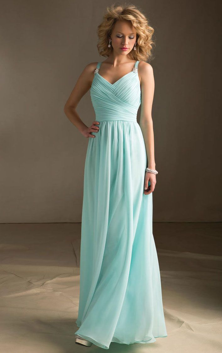Floor-length Chiffon A-line Natural Zipper Bridesmaid Dresses