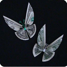 Money origami butterfly, great idea if you are giving money. Lots of other things to make with Dollar Bill Origami on this website