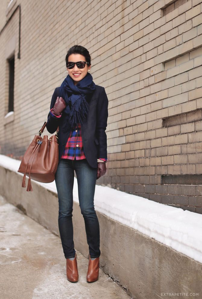 ExtraPetite | Comfortably chic in a plaid PJ button-up, a navy blazer, jeans, cognac booties, and navy scarf to tie the look together