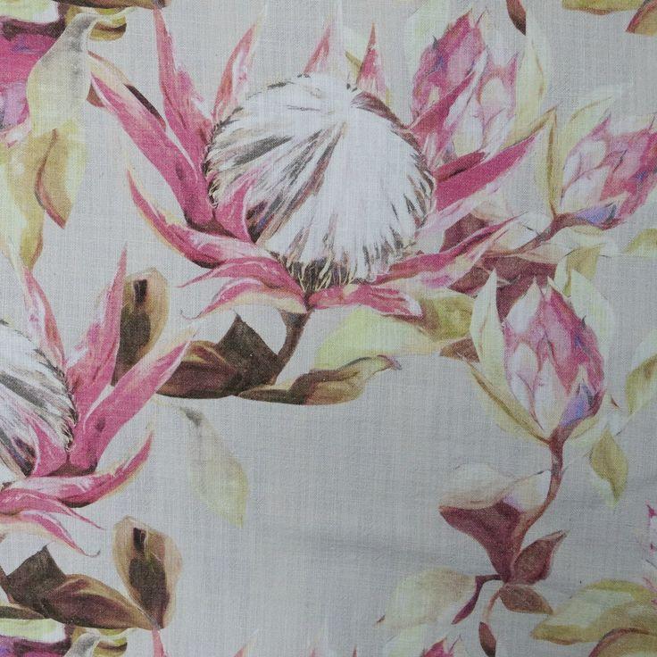 Protea - almond, on 100% cotton. www.whatnot.co.za