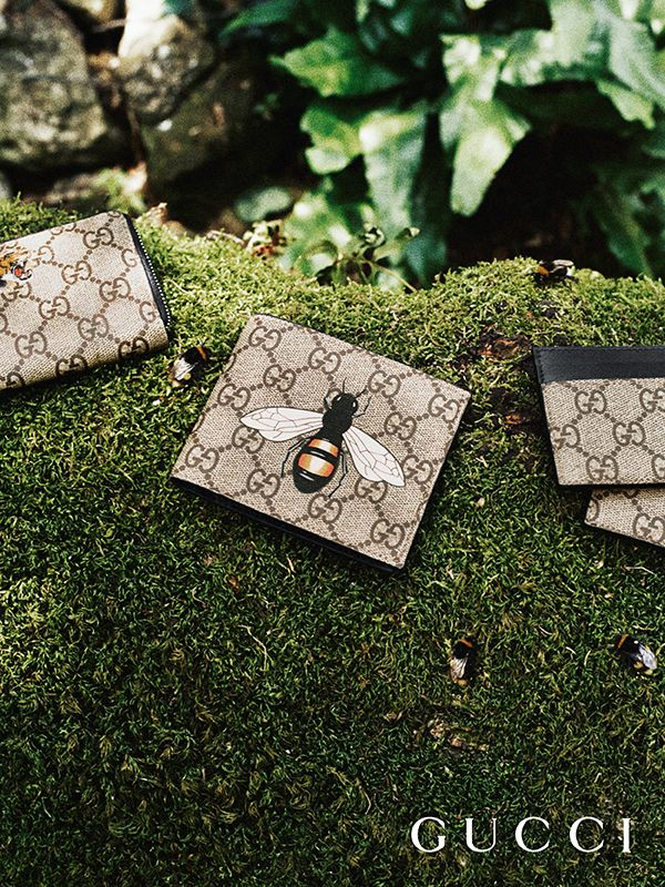 Presenting gifts from the Gucci Garden. GG motif wallets and card holders from Gucci Gift, embellished with tigers and bees by Alessandro Michele.