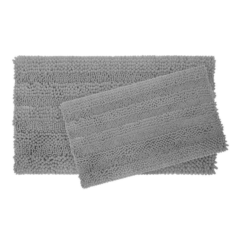Astor Striped Chenille Light Grey 20 in. x 34 in. Plush 2-Piece Bath Mat Set
