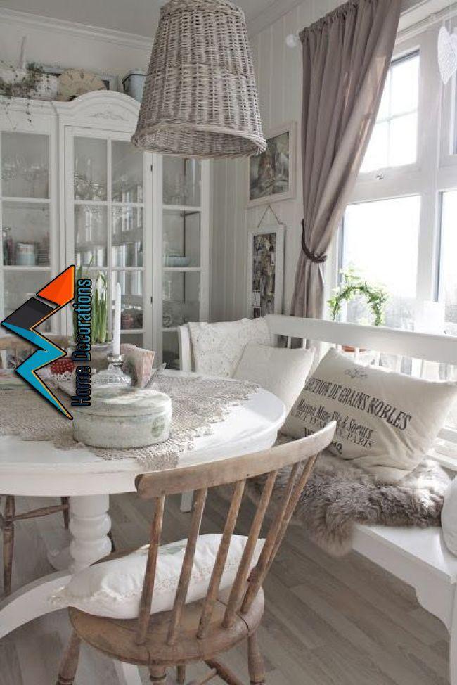 Shabby Chic Beach House Love The White Furniture And Kitchen Table Bench Would Def Put The Trash Bin Back On The Floor Where It Belo Wohnen Einrichten Und Wohnen Shabby Chic