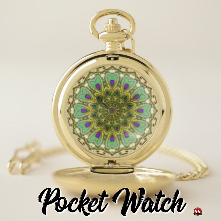 NEW from me ♦ Peacock Feathers Love Mandala Pocket Watch ♦ #pocketwatch #green