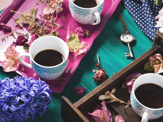 Still life with coffee and flowers by Life Morning Photography on @creativemarket