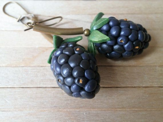 """< Polymer clay blackberry earrings > A simple project but definitely wearable! Aluminum foil core, base from violet+black+blue PC, """"drupelets"""" of the same blend, a hint of liquid PC on the surface for a matte shine. Happy summer!"""
