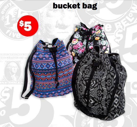 cute bucket bags from five below