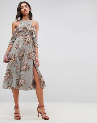 ASOS Ruffle Pinny Off Shoulder Midi Dress in Floral Print