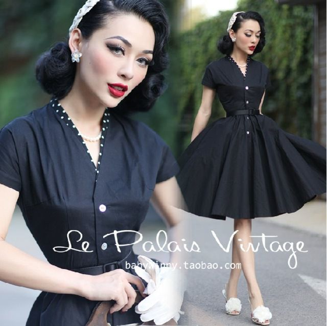 le palais vintage women 50s polka dot patch swing midi little black shirt dress plus size 4xl vestidos rockabilly pinup dresses