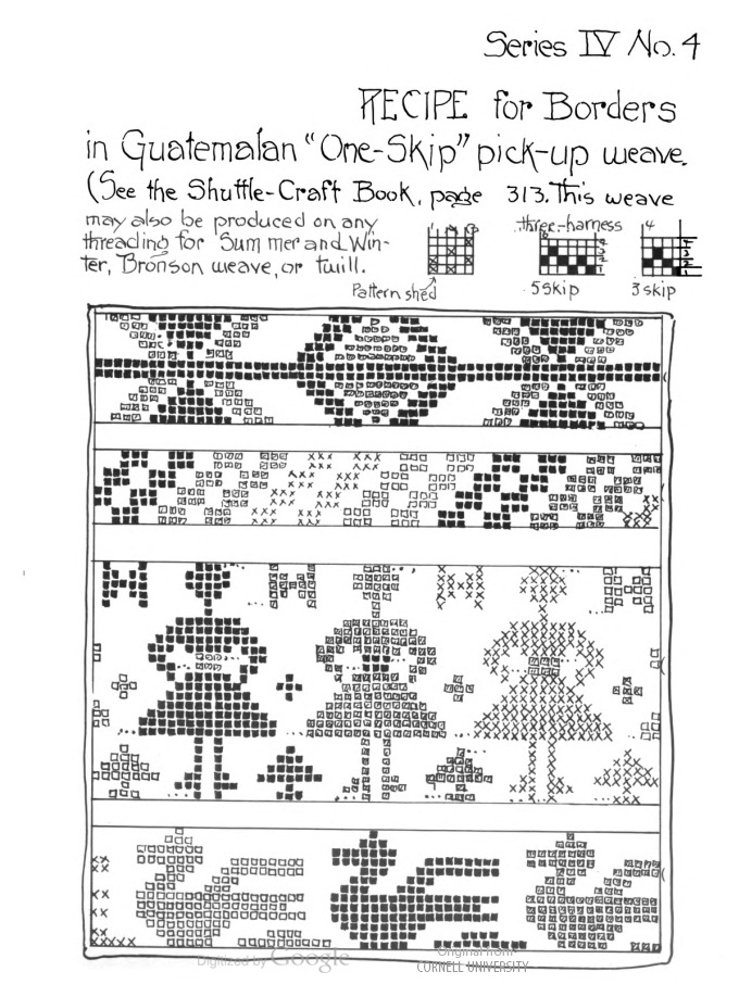 """Recipe for borders in Guatemalan """"one-skip"""" pick-up weave. Mary Meigs Atwater Recipe Book: Patterns for Handweavers, by Mary M. Atwater."""