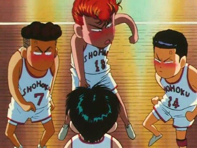 Theya are angry with Rukawa Kaede... hahaha.  Shohoku Team. Slam Dunk ! #slamdunk