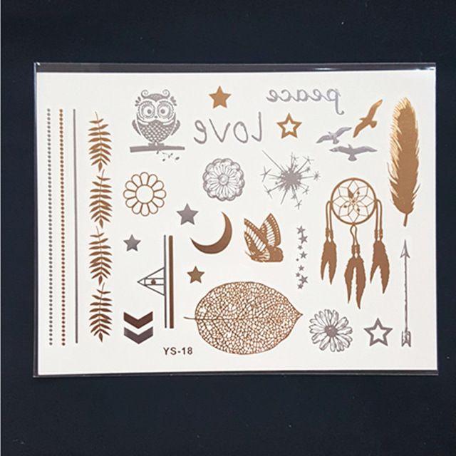 Ys18 золото продукты секса браслеты татуировки металл временные татуировки женщин вспышка золото серебро татуировки taty