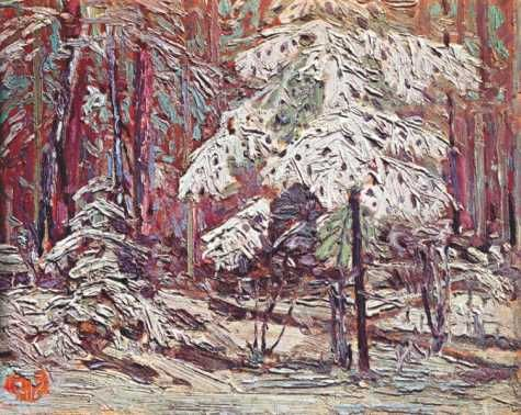 Tom Thompson painting of Snow in the Woods