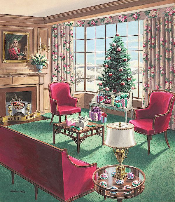 Weis Christmas Hours 2020 Illustration of a Christmas Living Room Scene by Urban Weis in