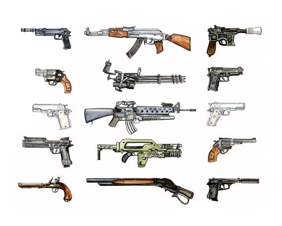 This 'Iconic Guns illustration print is a conversation