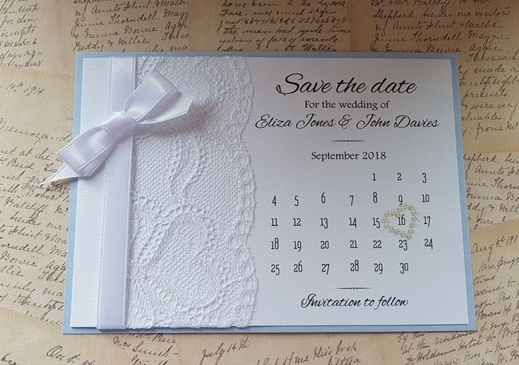 """Handmade personalised Calendar style Wedding """"Save the date"""", blue azur & white #Unbranded"""