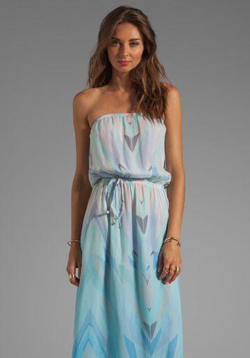 GYPSY 05 Prim Geo Print Strapless Maxi Dress in Robins Egg
