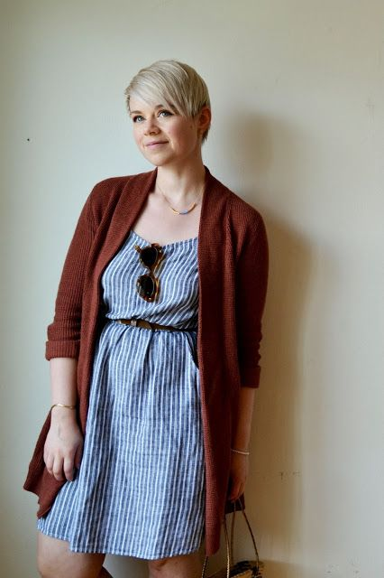 Look of the Day: Striped Linen Dress & Rust Cardigan | Fleur d'Elise: Look of the Day: Striped Linen Dress & Rust Cardigan