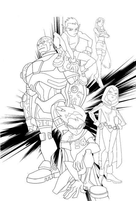 Desenhos para colorir - Desenho do Teen Titans Os Jovens Titans