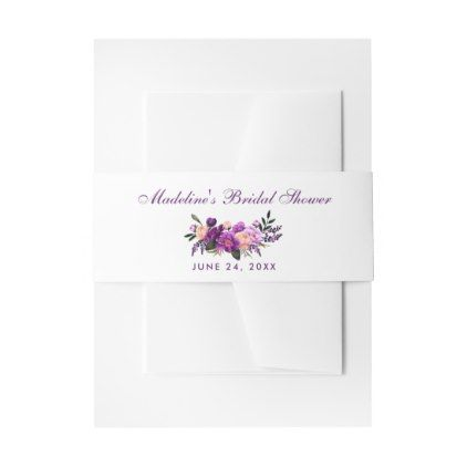 Ultra Violet Purple Floral Bridal Shower Invitation Belly Band - winter bridal shower gifts wedding diy ideas