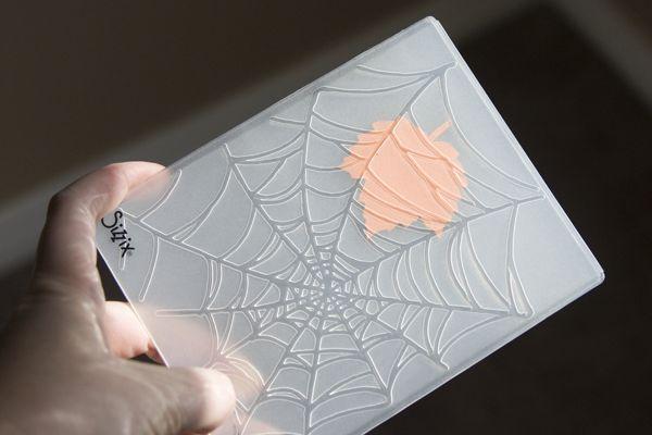 Leaf veins using Stampin' Up! spider web folder... great idea!
