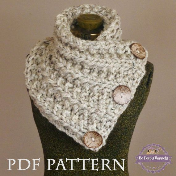 Knitted Cowl Pattern With Buttons : Knit Scarf PDF PATTERN - Knitting PATTERN Chunky Button Neckwarmer Pattern - ...