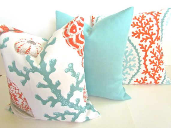 THROW PILLOWS 18x18 CORAL Throw Pillow Covers Orange Coral 18 x 18 Aqua Mint Green Decorative Throw pillows Indoor Outdoor