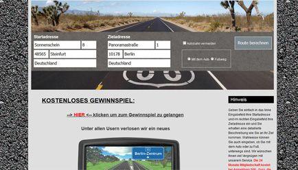 Screenshot eines Online-Routenplaners, der Nutzer mit einem Gewinnspiel in eine Abofalle lockt. Screenshot: routenplaner-maps.online am 30.01.2017 / Verbraucherzentrale NRW