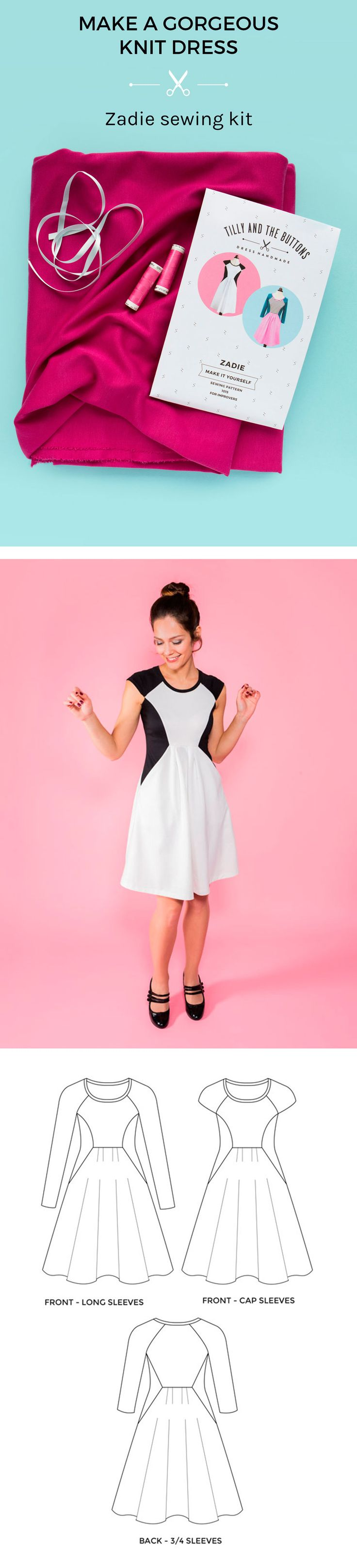 Make a gorgeous knit dress with the Zadie sewing kit.  Make your own comfortable and stylish knit dress with this sewing kit. Each kit contains all the bits and bobs you need to sew the Zadie dress