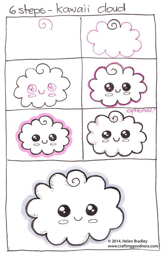 paso a paso cómo dibujar una nube kawaii aprender a dibujar