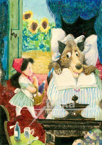 Reprodukce Červená Karkulka a vlk v posteli - Jiří Trnka