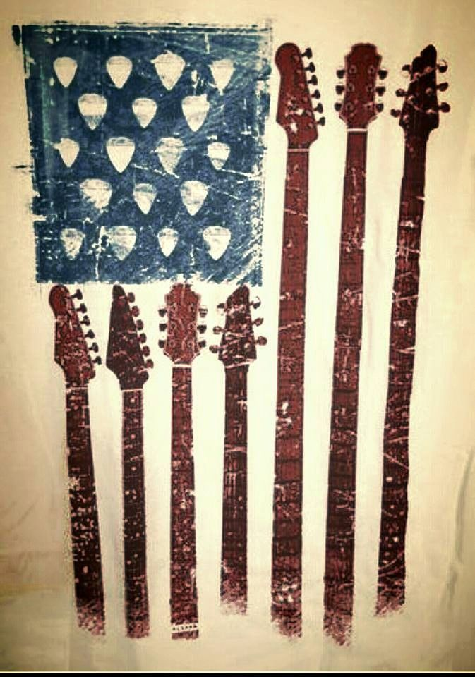 Guitar necks and guitar picks for an abstract flag image